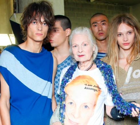 Vivienne Westwood along with the models at the backstage of fashion show, photo courtesy of Vivienne Westwood