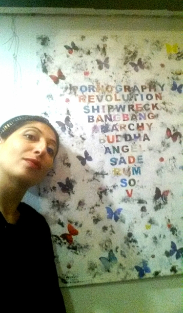 Me, myself and I along with a work by Umberto Lo Presti, photo by Maria Mollo